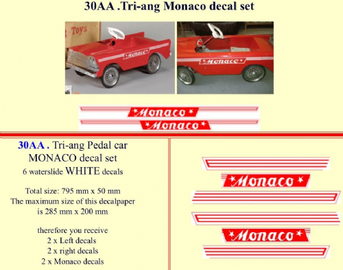 30AA Tri-ang Monaco decal set
